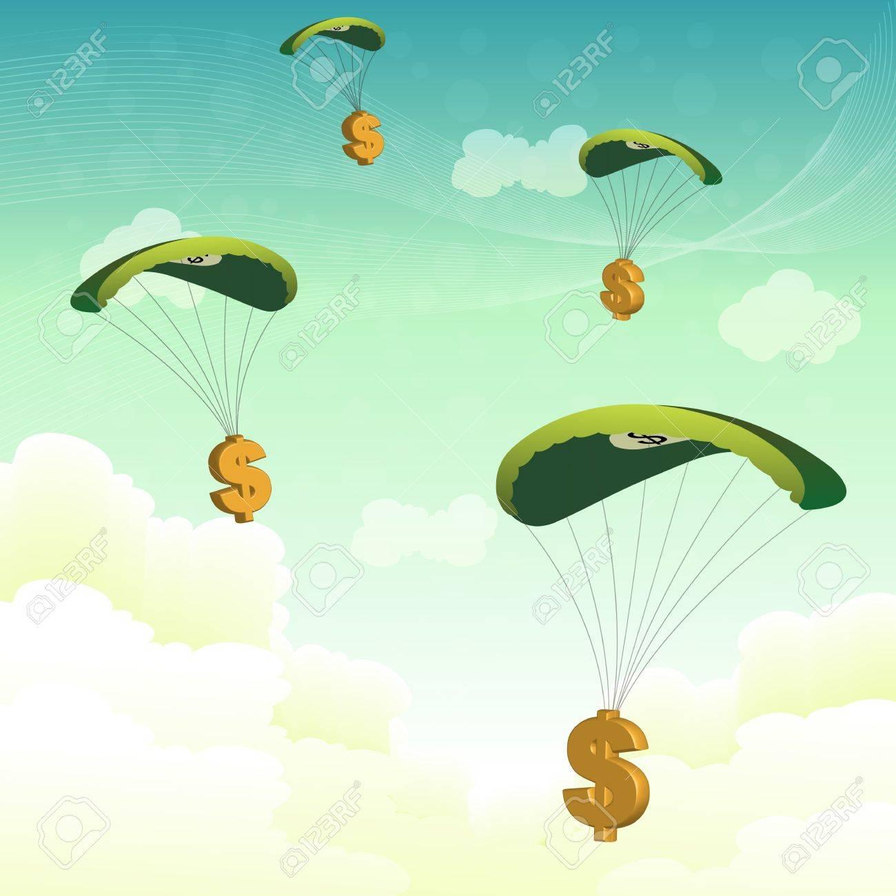 illustration of dollar dollar parachutes Stock Vector - 8248236