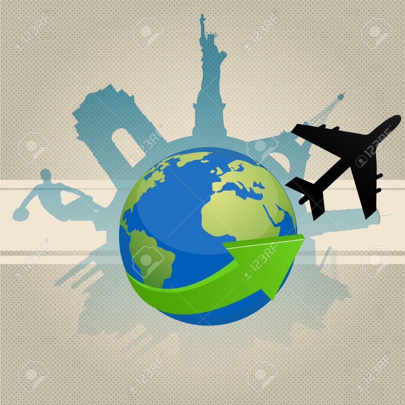 illustration of famous monument around globe Stock Vector - 8248139