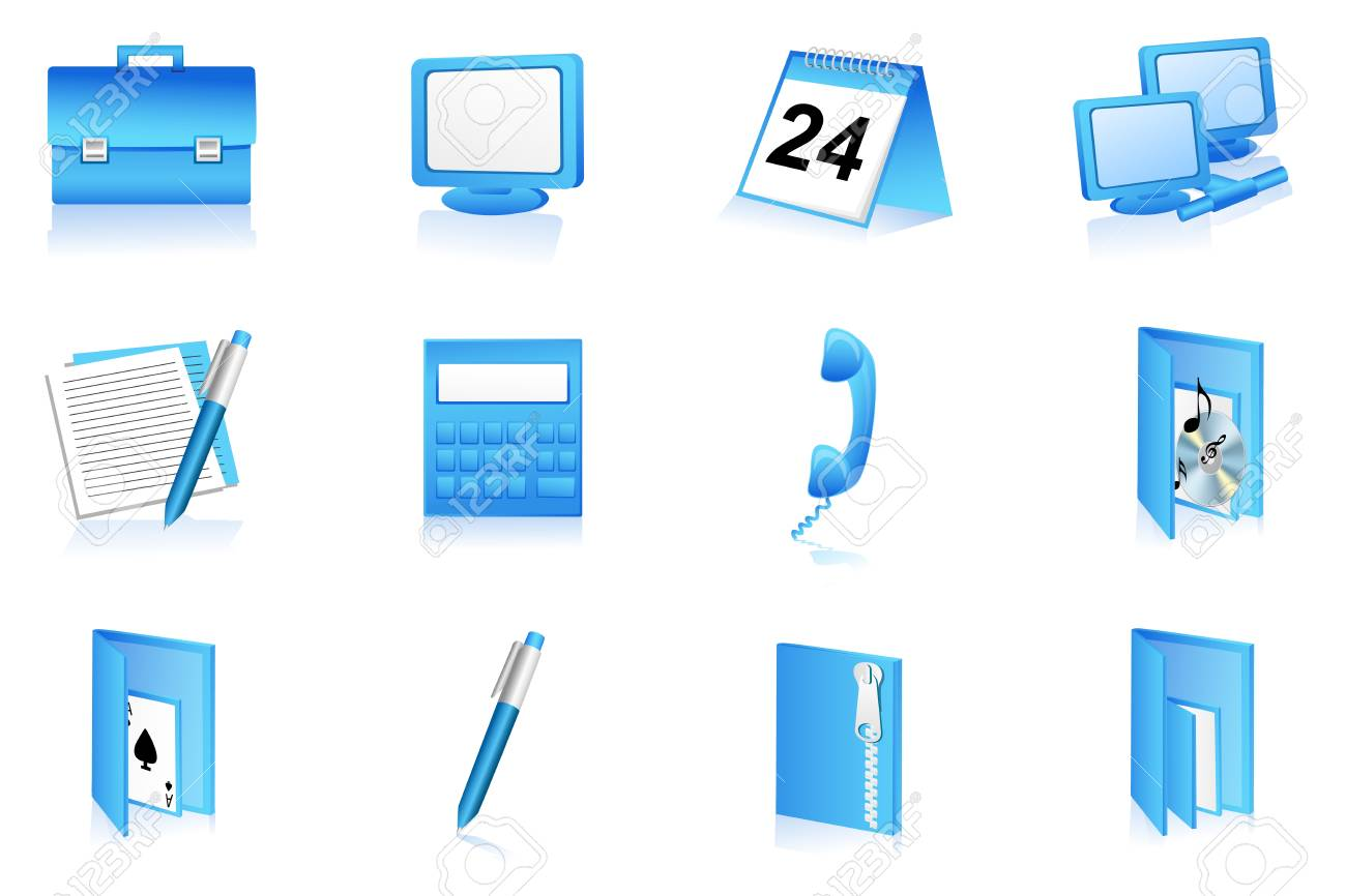 illustration of set of office icons on isolated background Stock Vector - 8247355