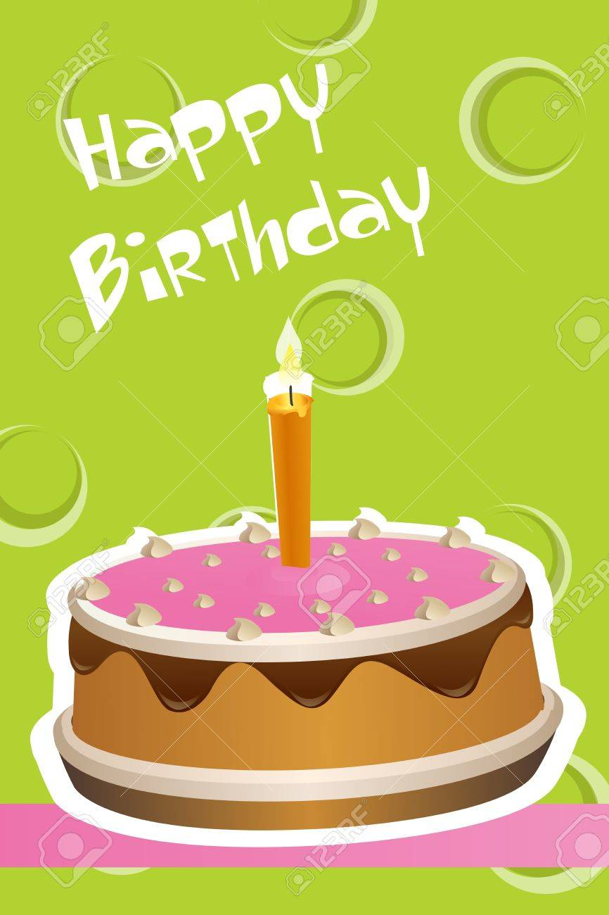 illustration of birthday cake on abstract background Stock Vector - 8247152