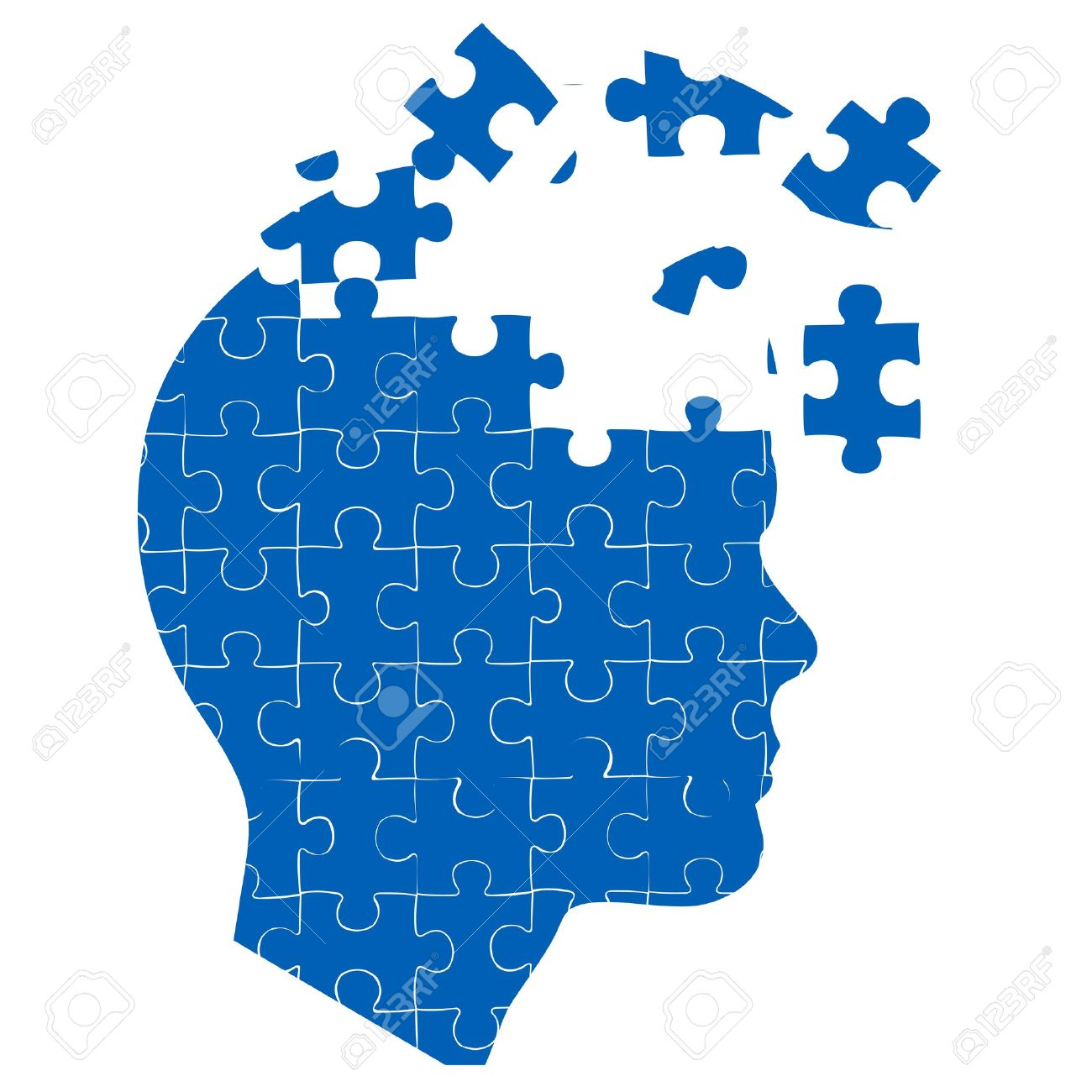 illustration of man's mind with jigsaw puzzle on white background - 8246895