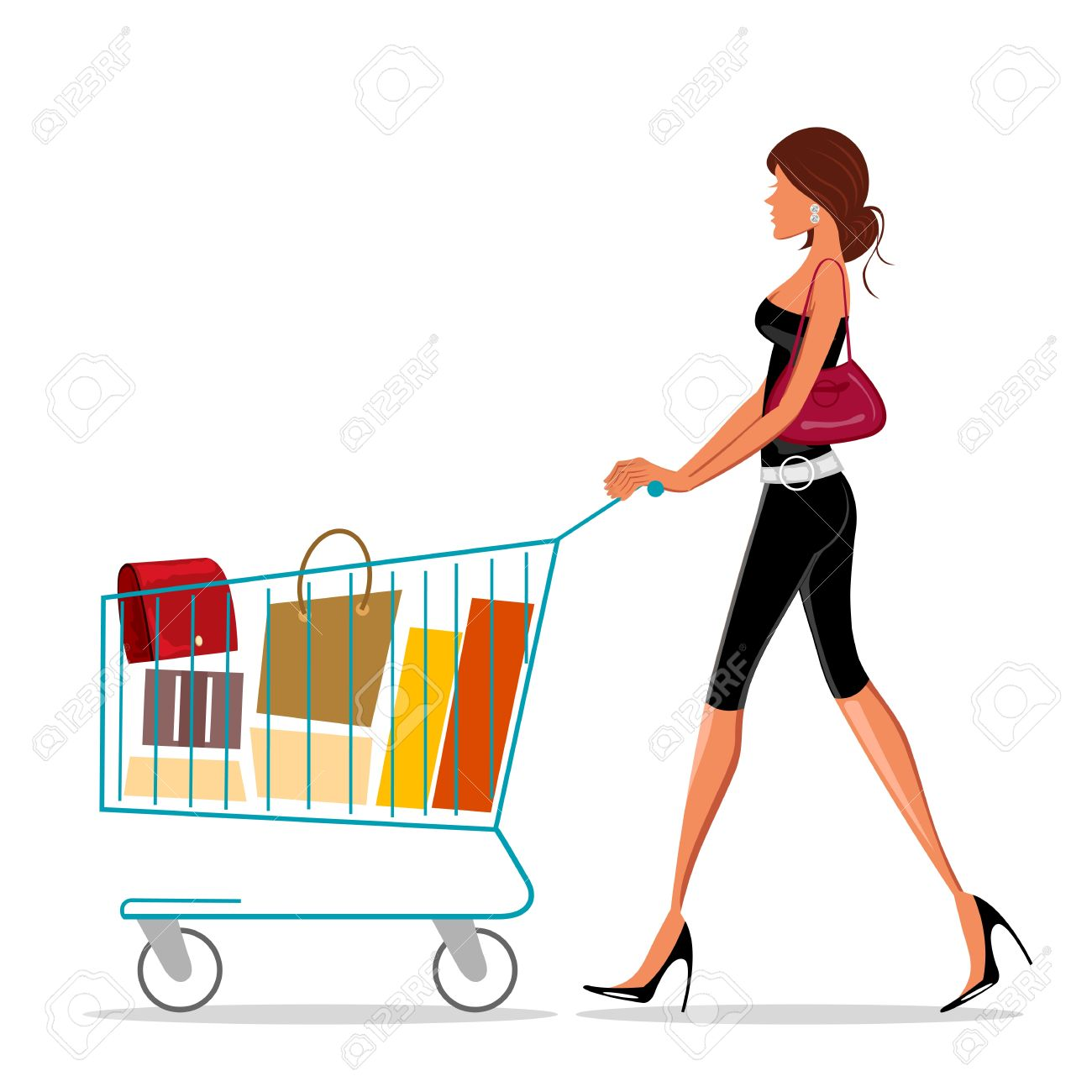 illustration of shopping lady with trolley on white background - 8247036