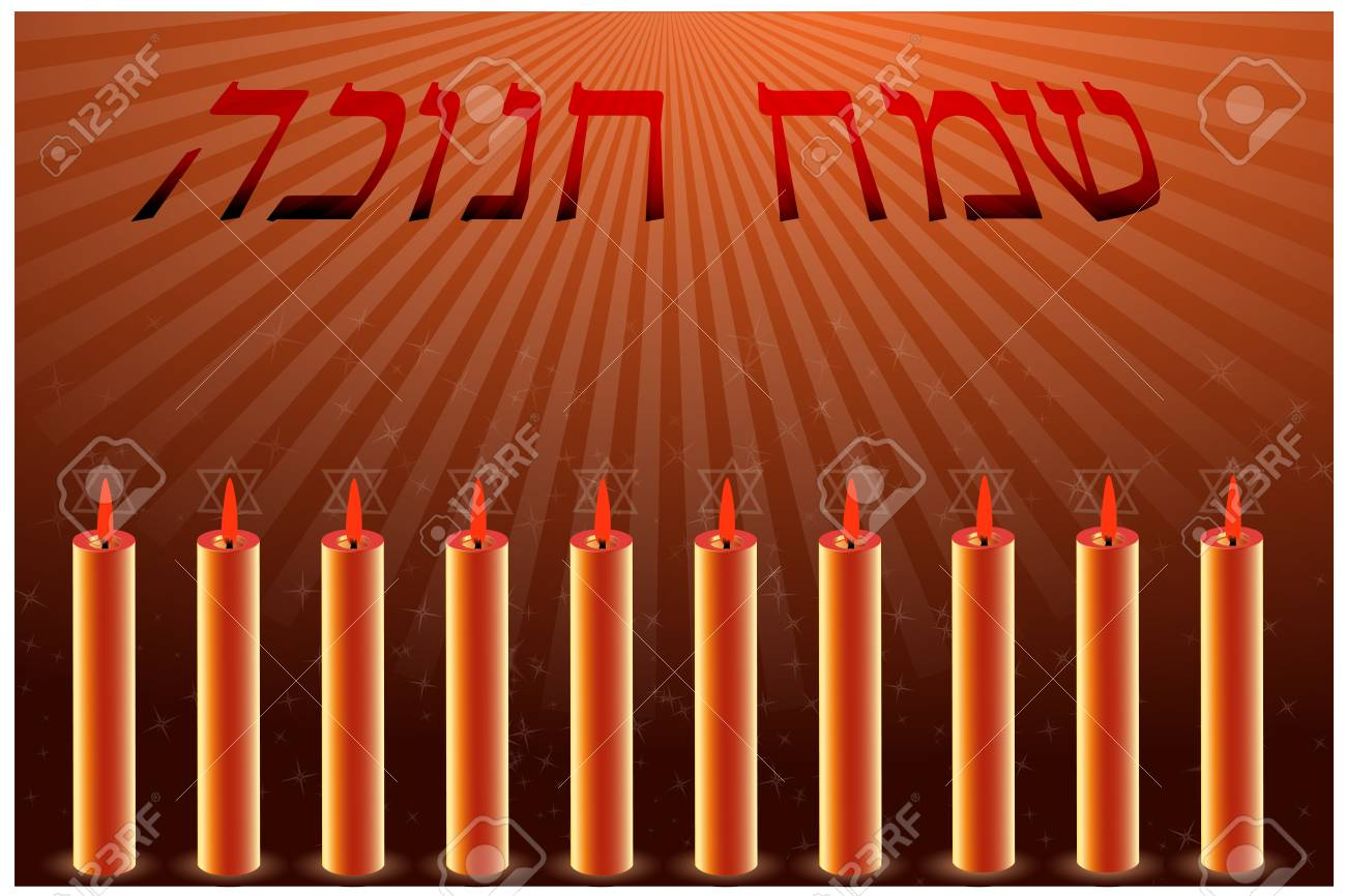 illustration of hanukkah card with candles Stock Vector - 8248140