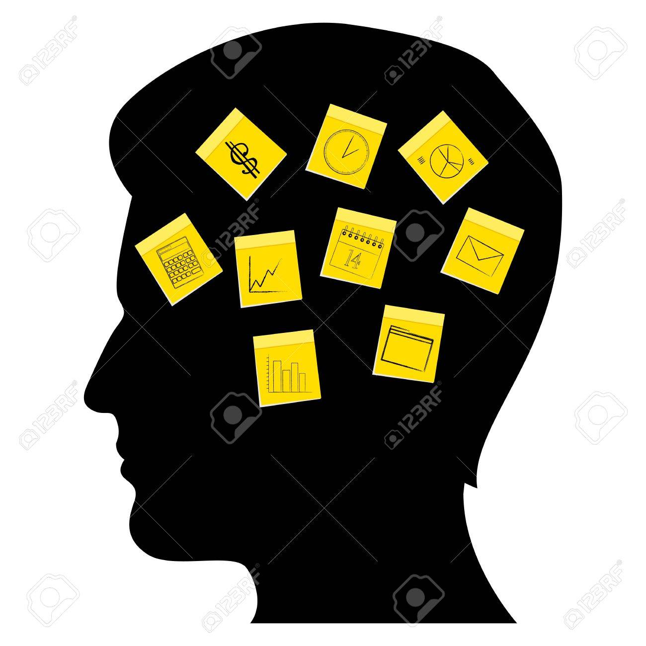illustration of business man's mind on white background Stock Vector - 8248133