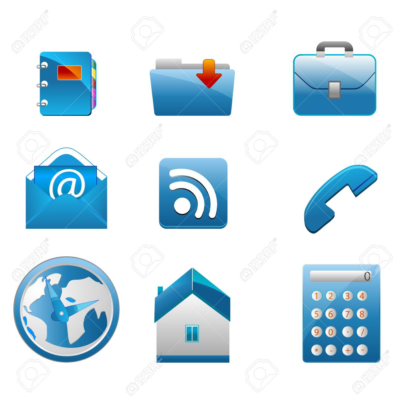 illustration of business icons on white background Stock Vector - 8302679