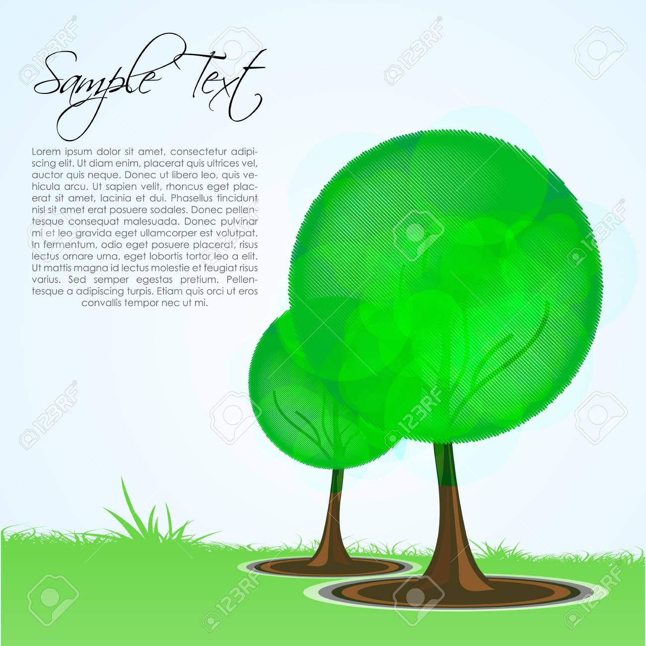 illustration of nature card with tree Stock Vector - 8302958