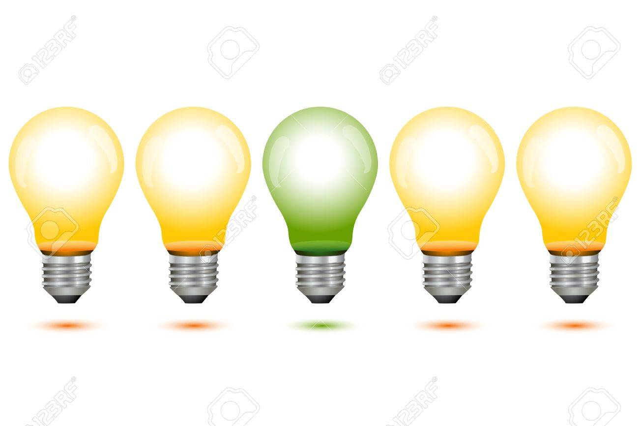 illustration of global warming  with electric bulbs on white background Stock Vector - 8302951