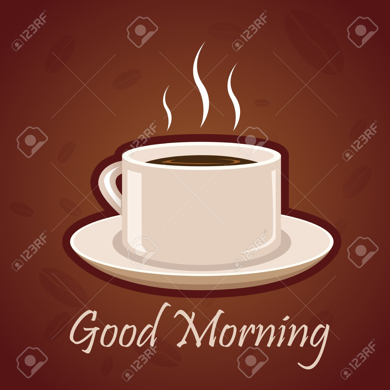 Charming Illustration Of Good Morning Card With Hot Coffee On White Background Stock  Vector   8302652