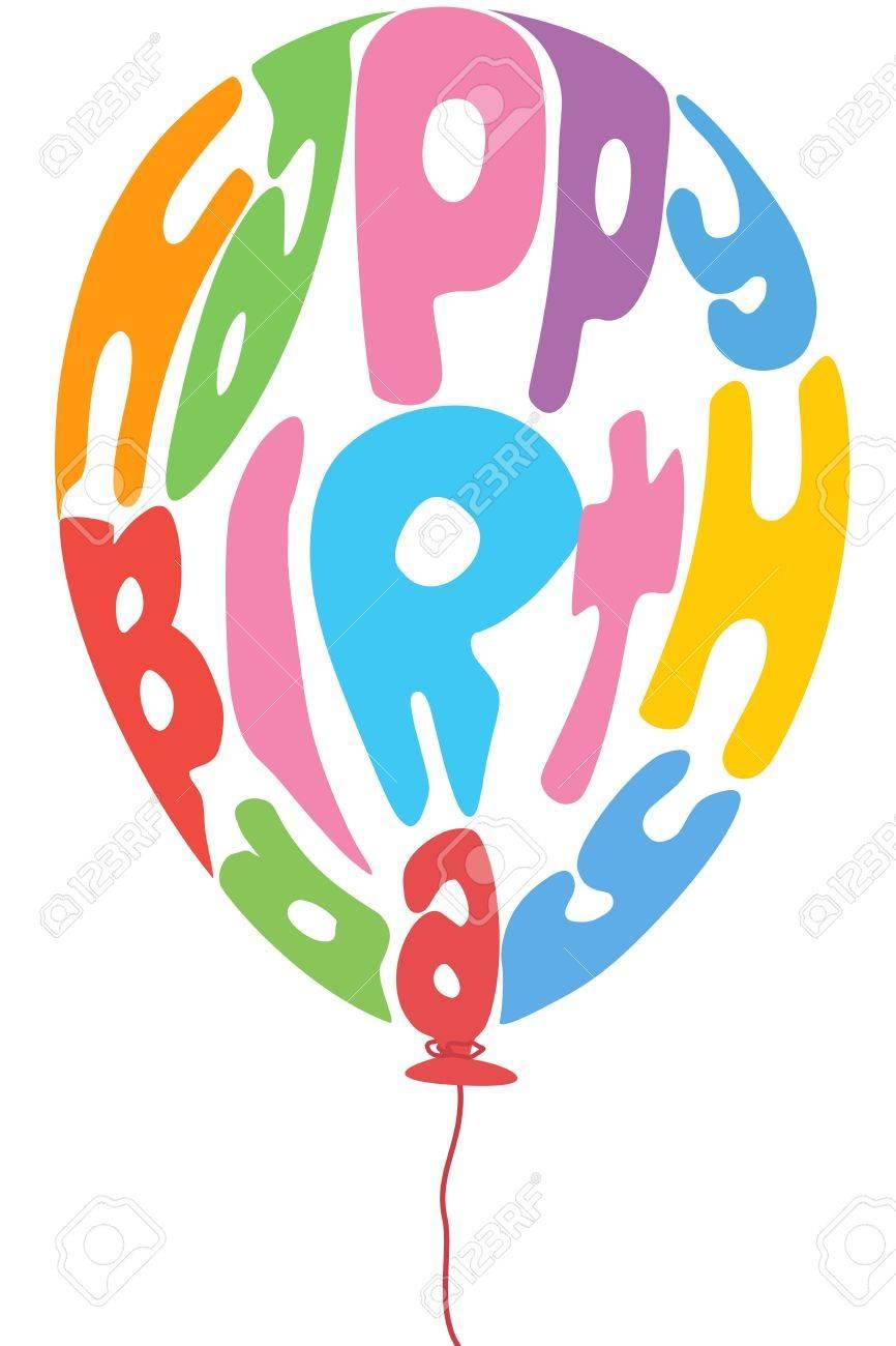 Abbildung Der Geburtstag Ballon Mit Text Auf Weissem Hintergrund