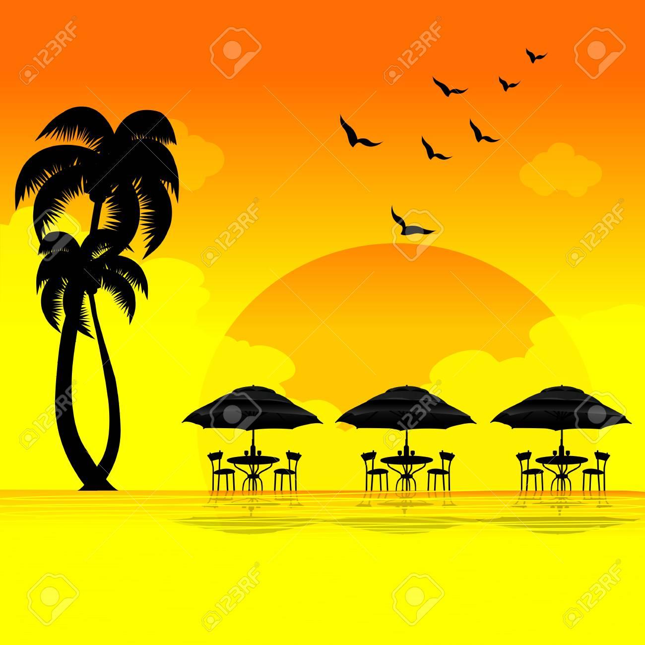 illustration of sun set on beach Stock Photo - 8303051