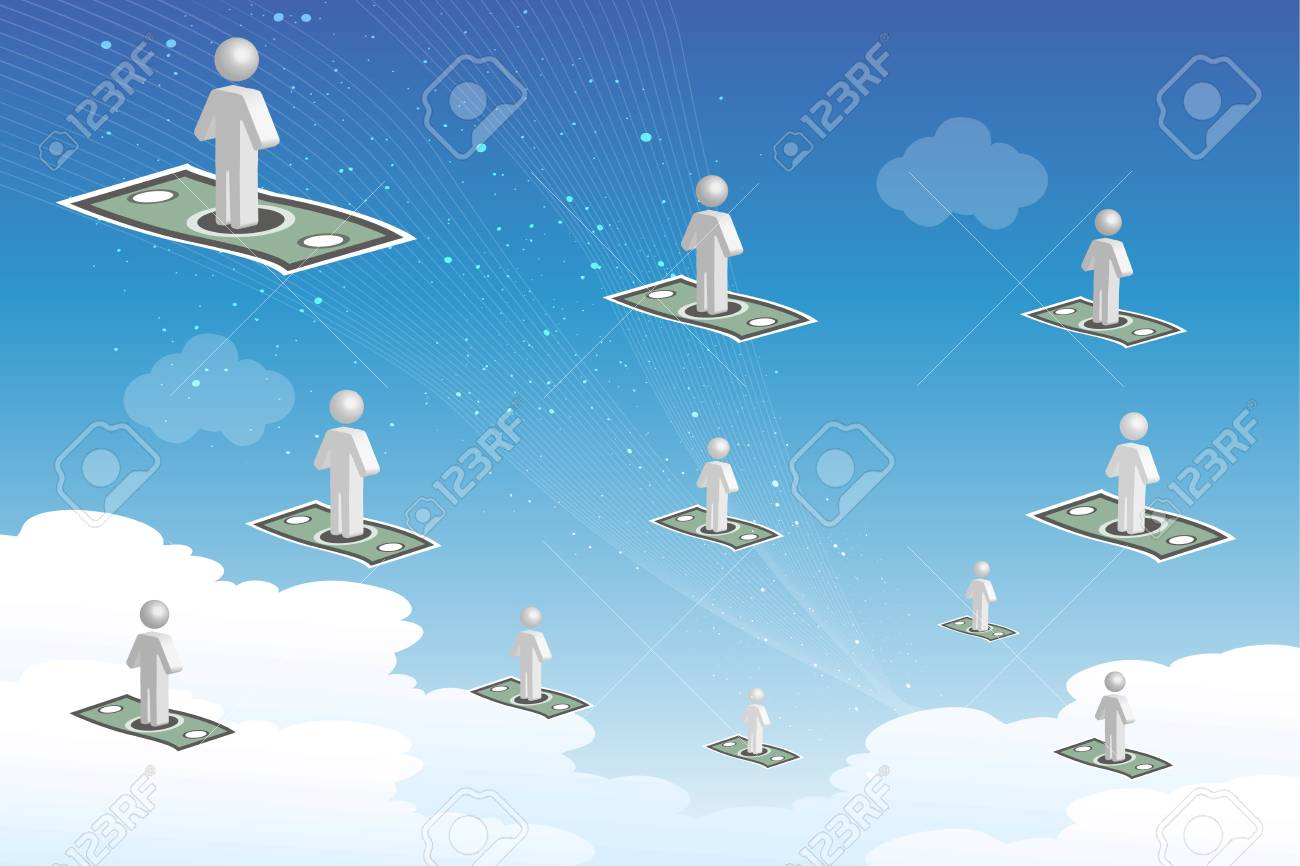 illustration of businessman flying with currency Stock Vector - 8303068