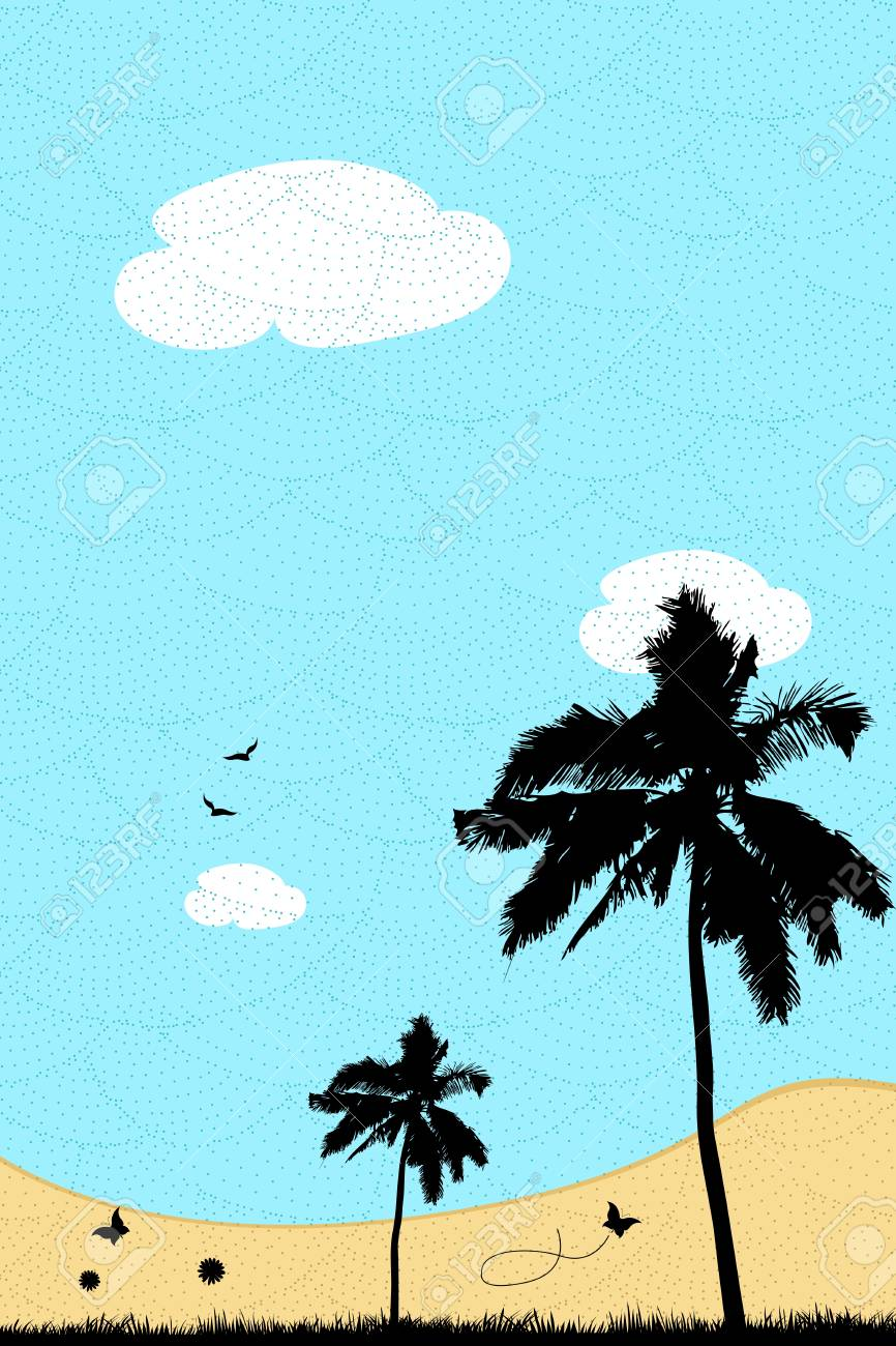 illustration of landscape with textured background Stock Vector - 8373571