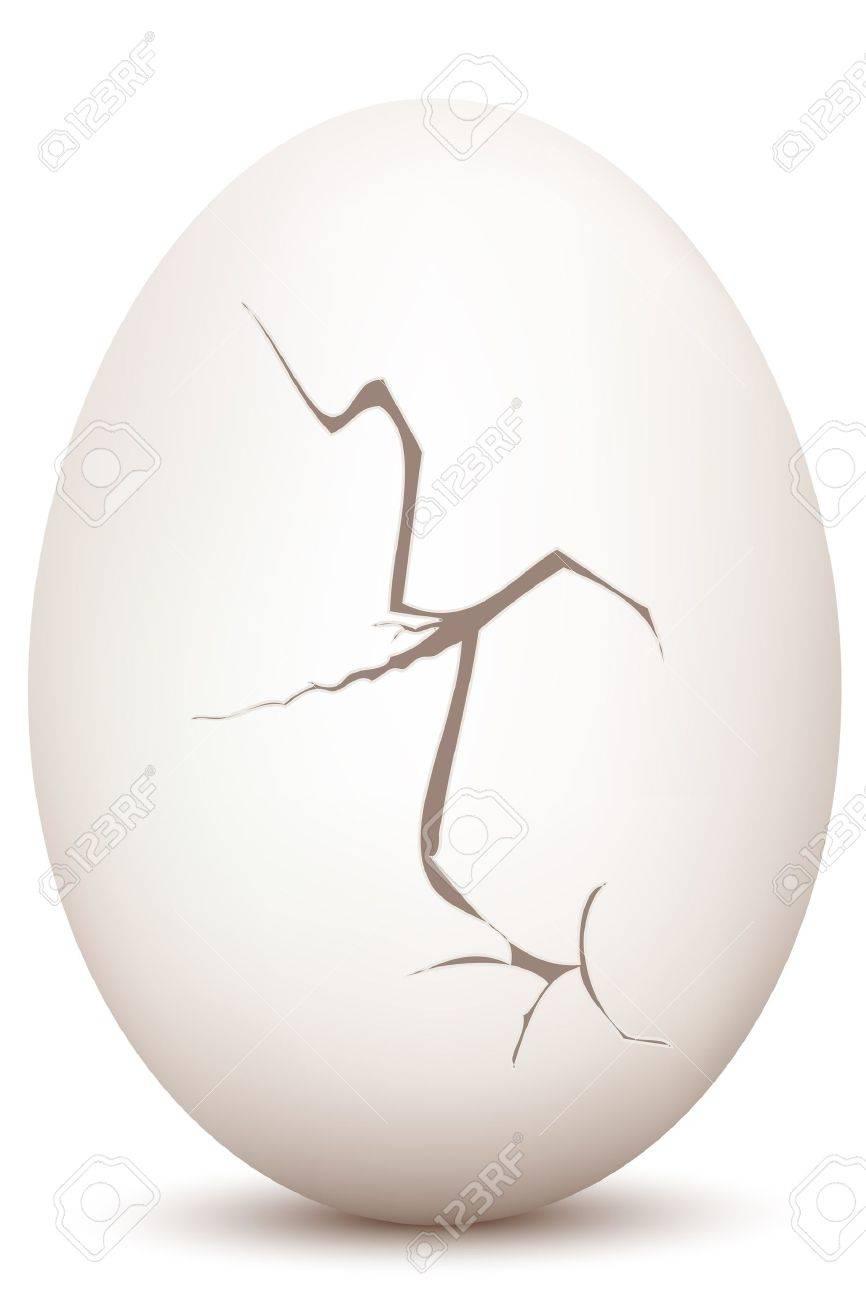 Illustration Of Cracked Egg On White Background Royalty Free ...