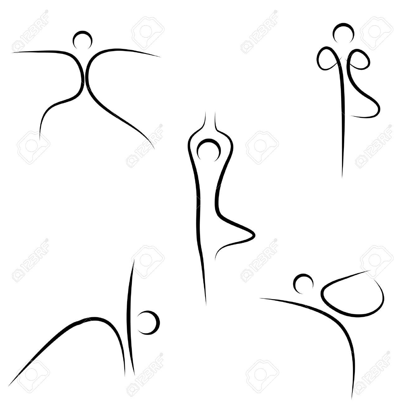 illustration of yoga sketch on white background Stock Vector - 8373327
