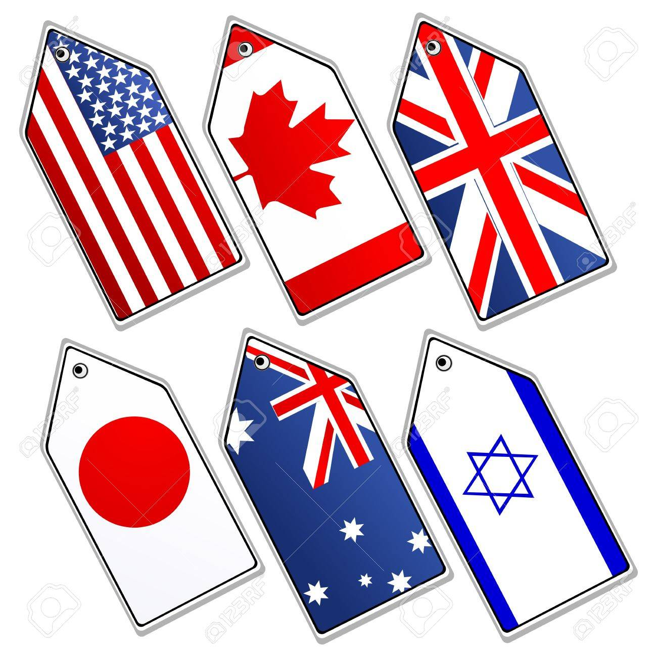 illustration of different flags on white background Stock Vector - 8441716