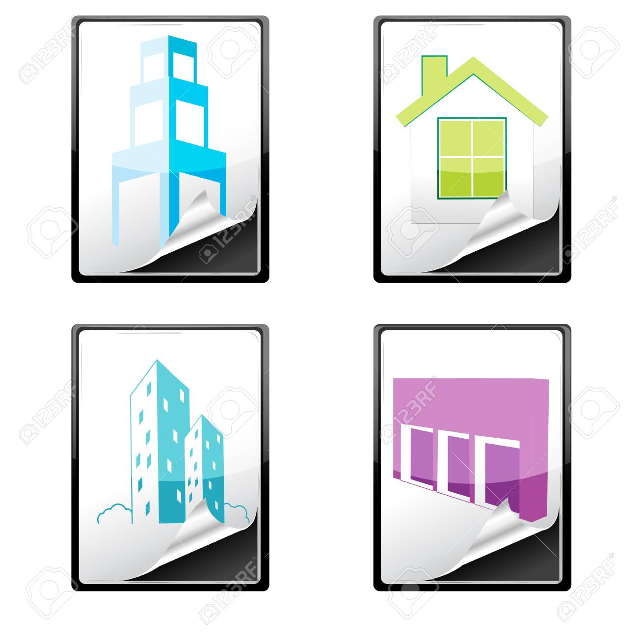 illustration of house icons on white background Stock Vector - 8441851