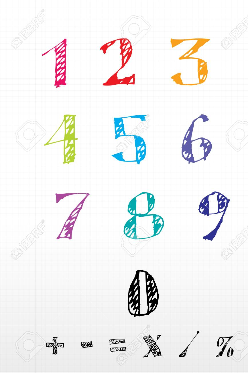 illustration of sketchy number text on white background Stock Vector - 8441727