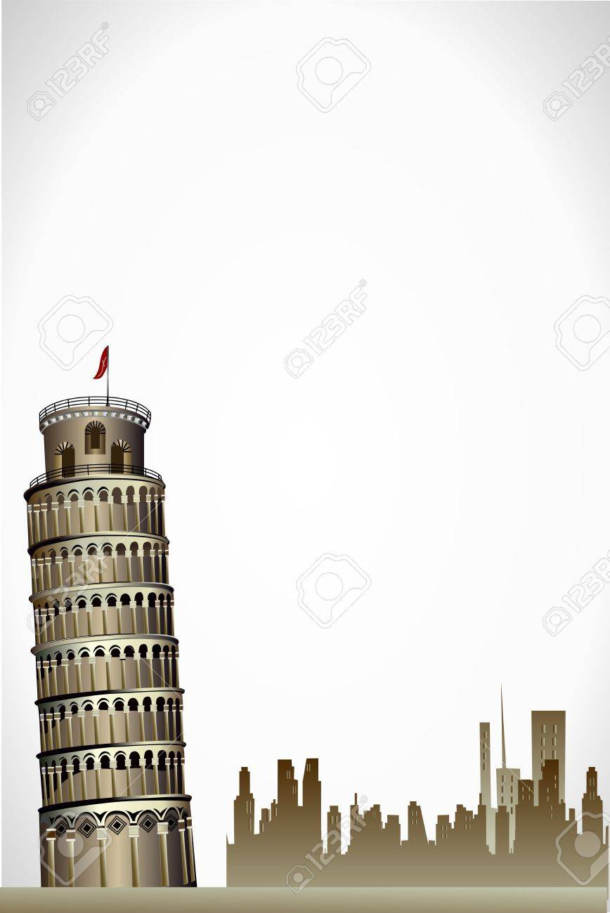 illustration of leaning tower of pisa on white background Stock Vector - 8441961