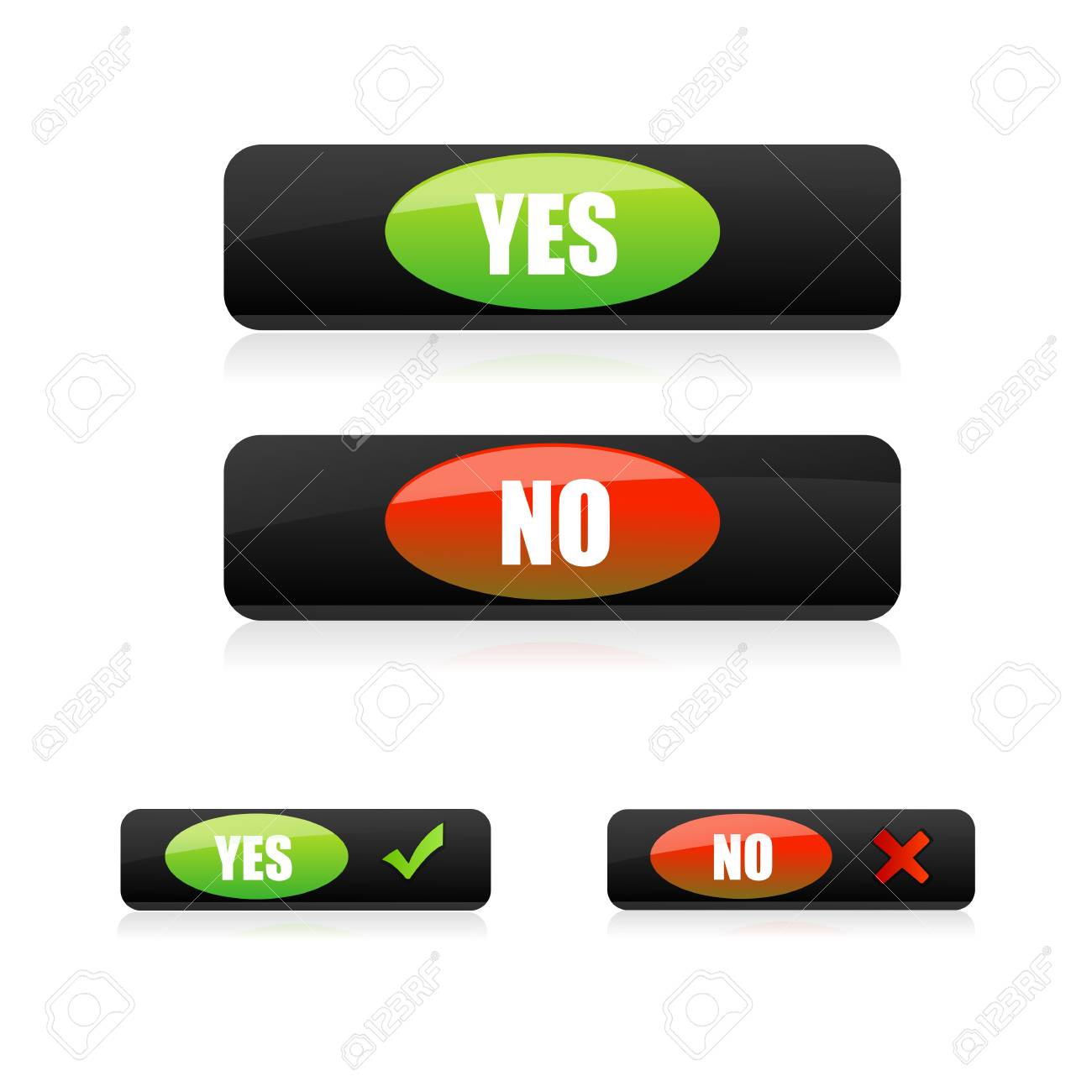 illustration of yes and no buttons on white background Stock Photo - 8511345