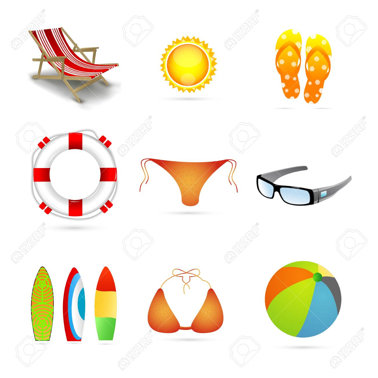 illustration of beach icons on isolated background Stock Vector - 8552863