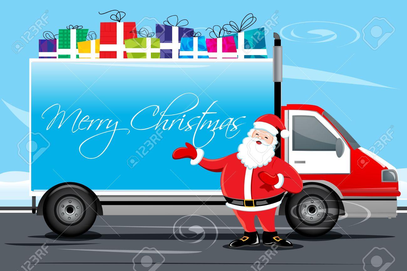 Trucking illustration of christmas card with cargo illustration