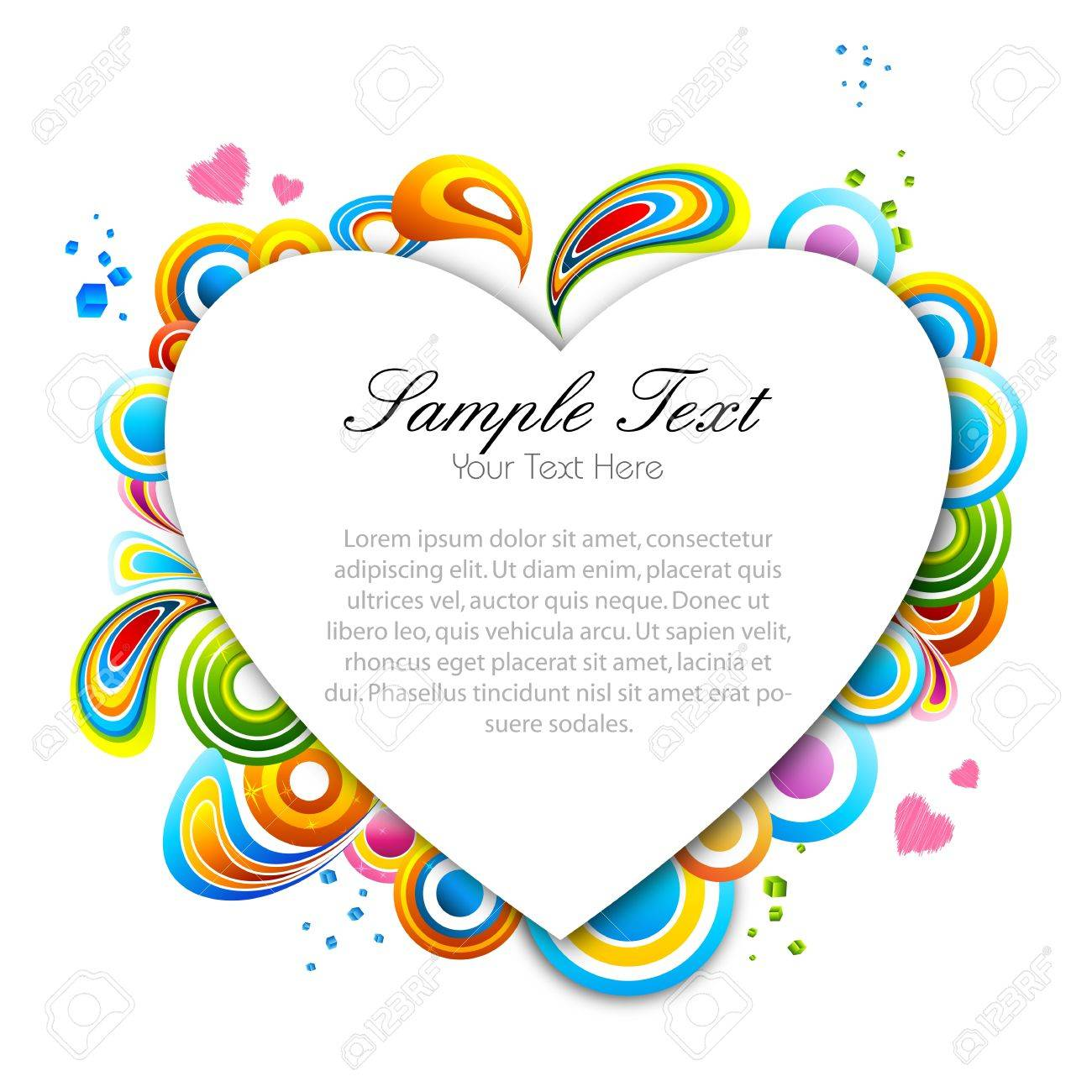 illustration of multicolored valentine card on white background Stock Vector - 8637600