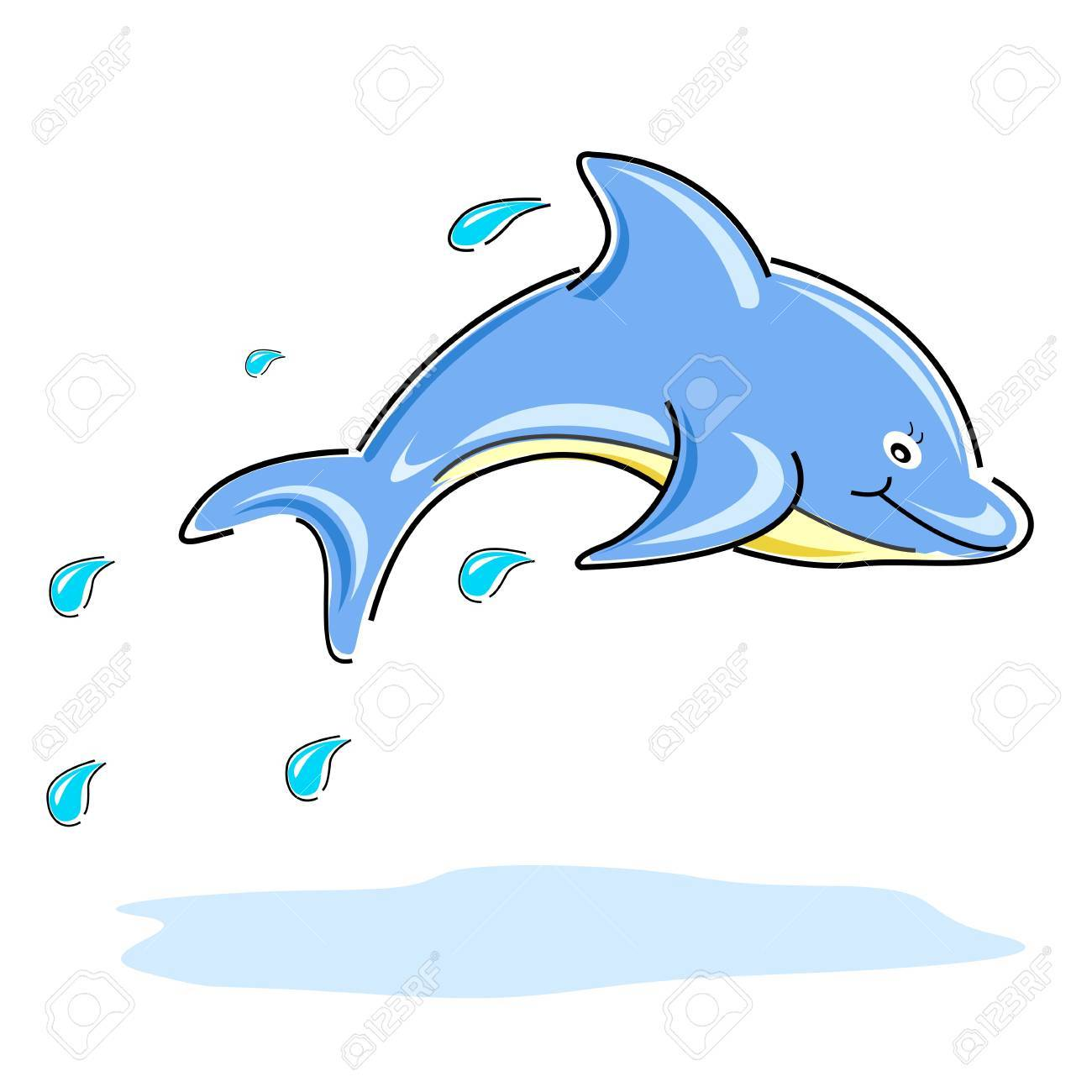 illustration of happy dolphin on white background Stock Vector - 8637150