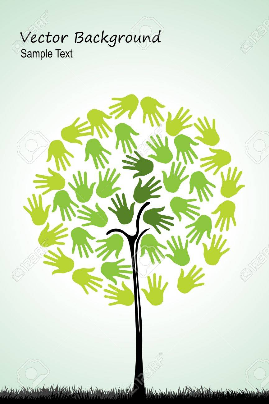 illustration of natural tree with hands on white background Stock Vector - 8637304