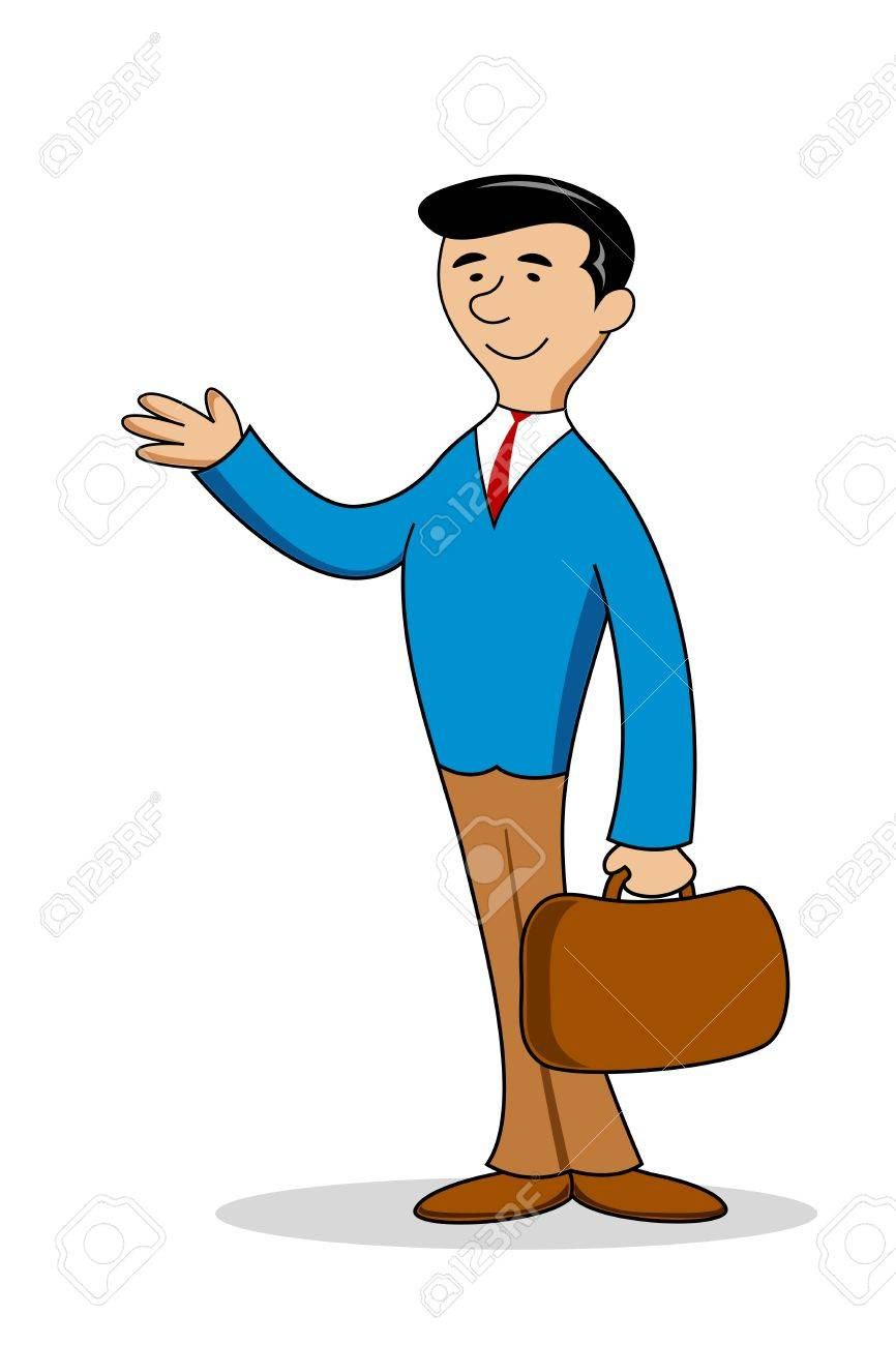 Illustration Of Business Man With Bag On White Background Royalty ...