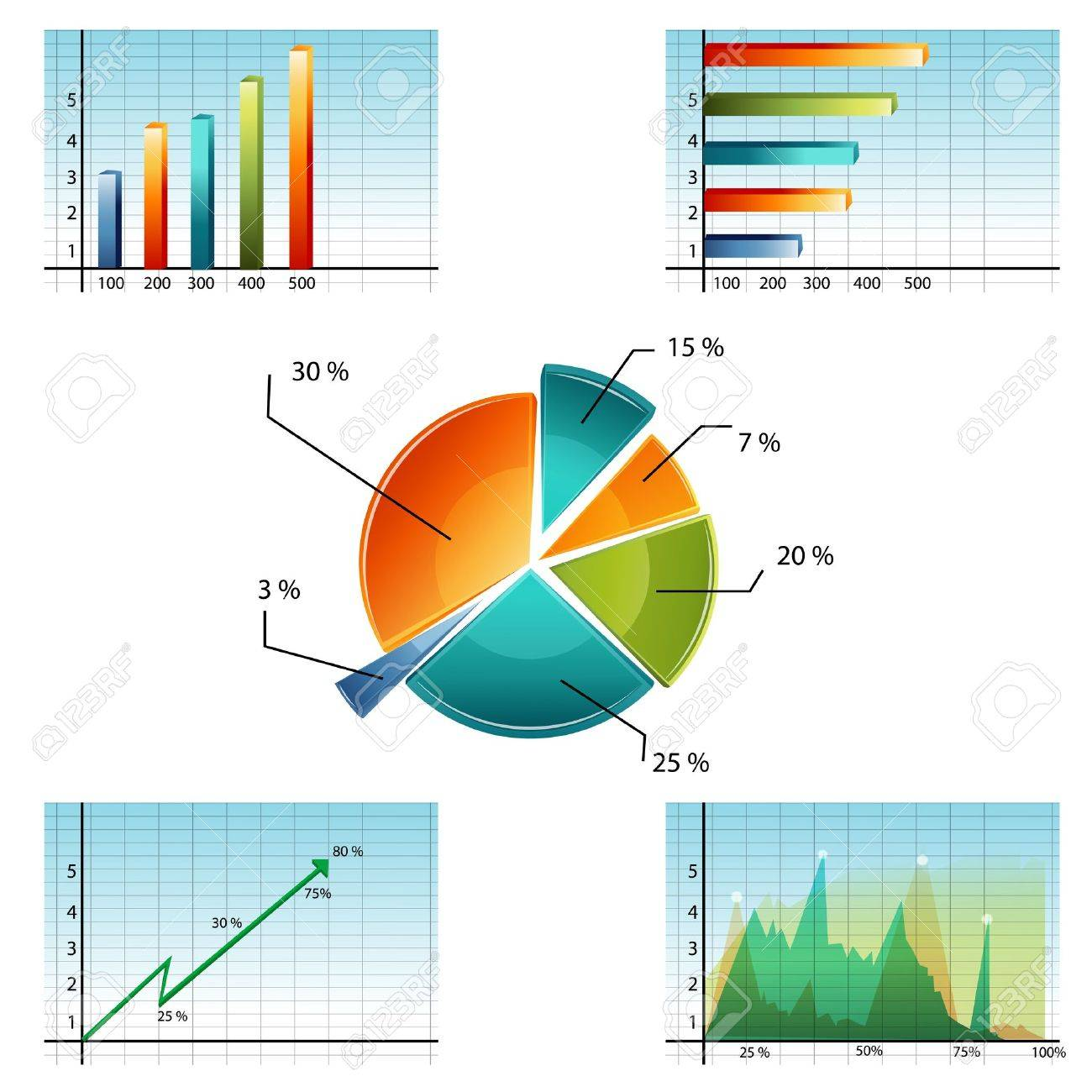 illustration of business graphs on white background Stock Vector - 9269485