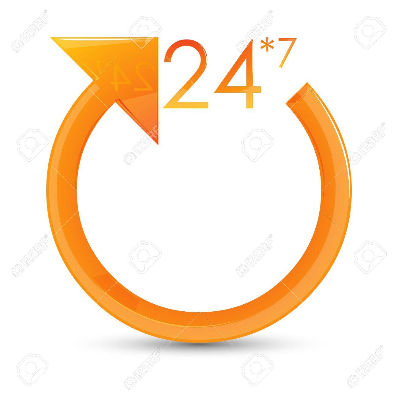 illustration of 24*7 circle on white background Stock Vector - 9269315