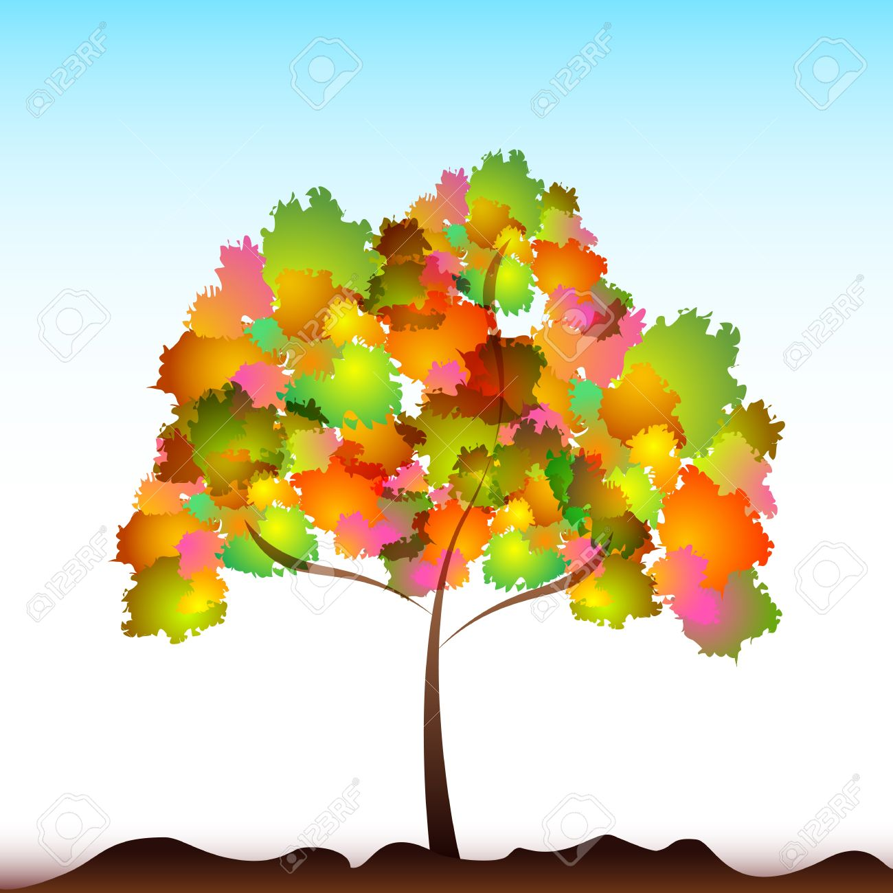 illustration of colorful tree on isolated background Stock Vector - 9269487