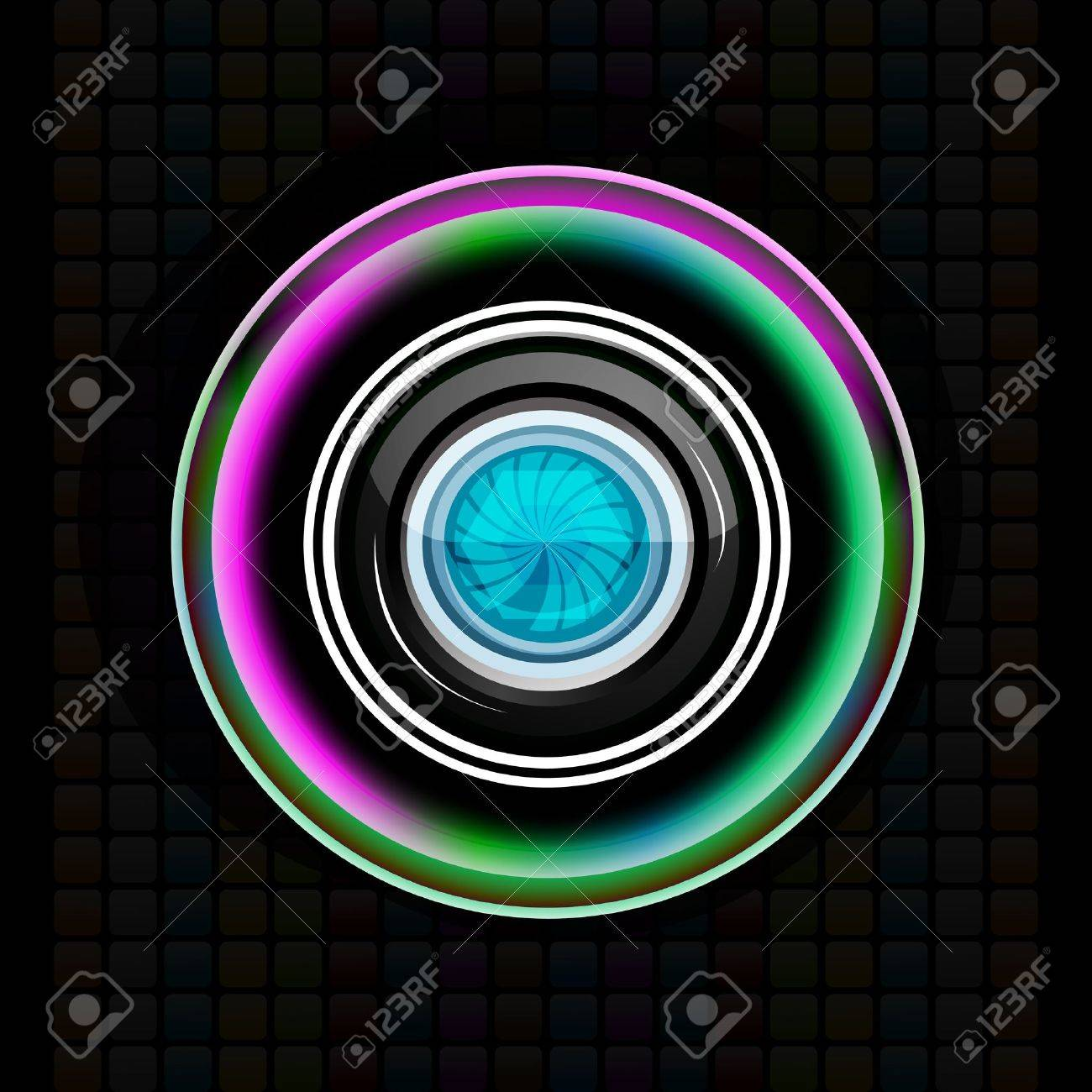 illustration of camera lens on abstract background - 9269535