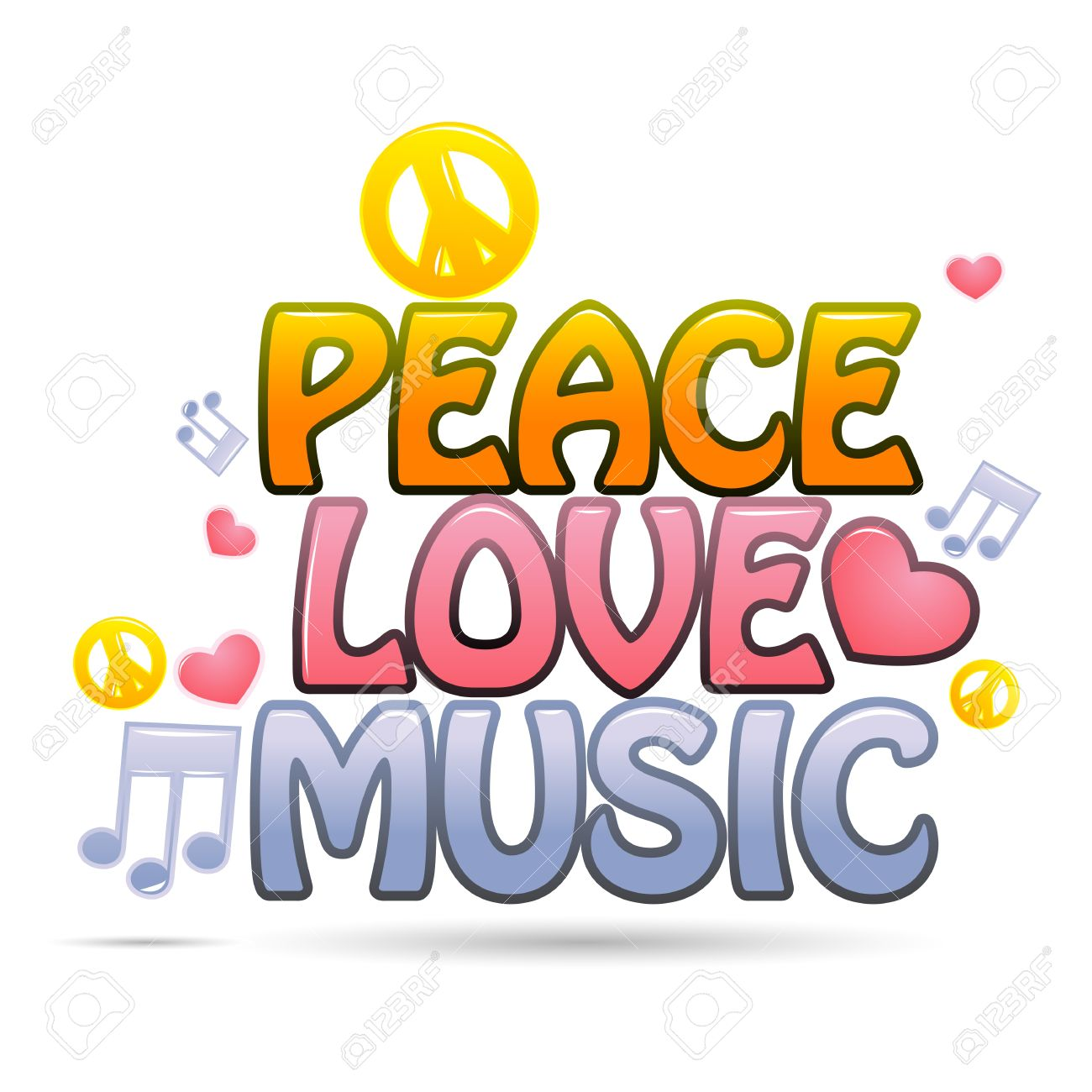 illustration of peace love music on white background Stock Vector - 9269311