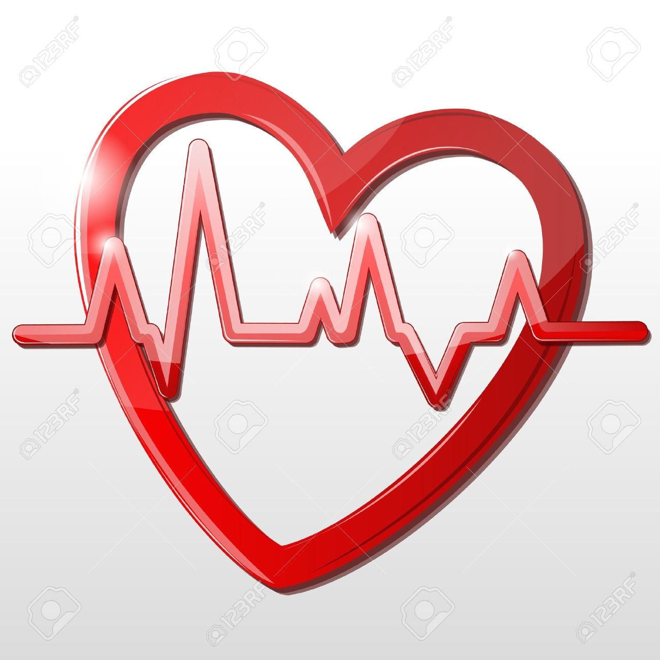 illustration of heart with cardiograph on white background - 9438587