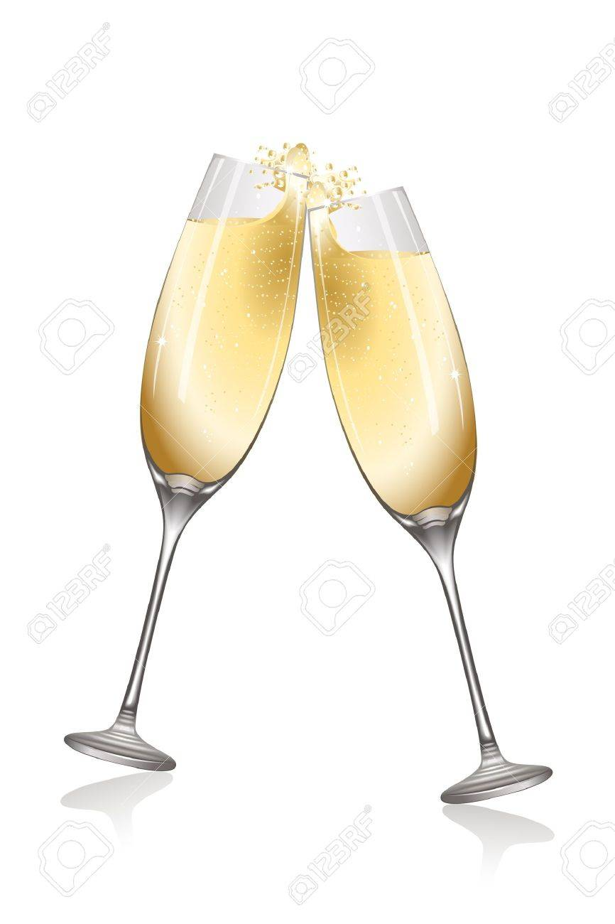 illustration of celebration with wine on white background - 9438611