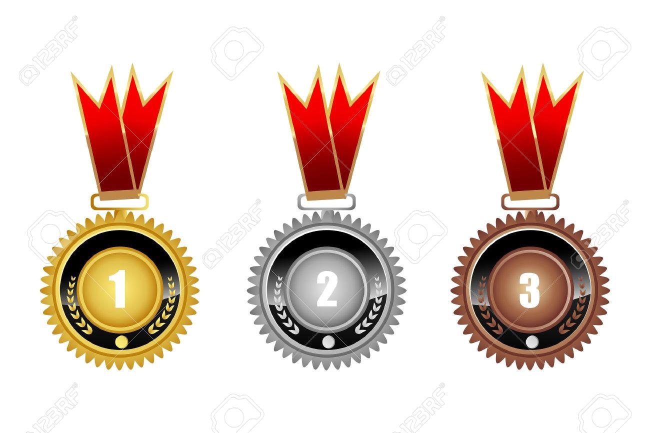illustration of medals on white background - 9438497