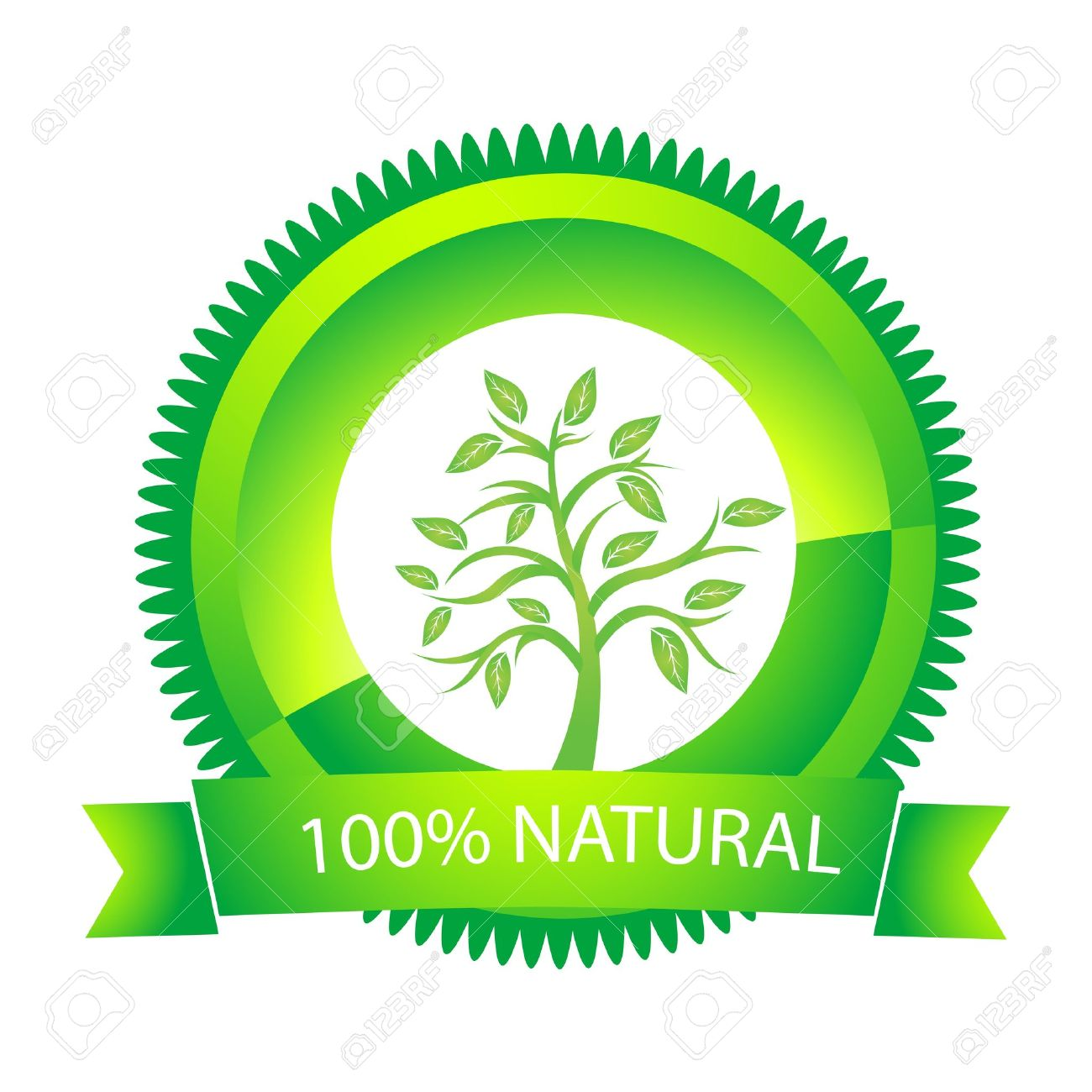 illustration of 100% natural tag on white background - 9438482