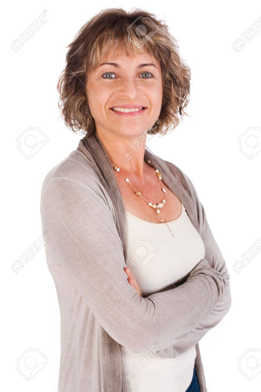 Attractive senior woman with folded arms isolated over white background.. - 9796451