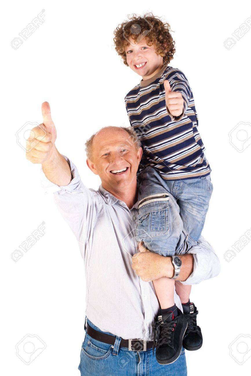 Thumbs-up pair of grandfather and grandson isolated on white background. - 9796601