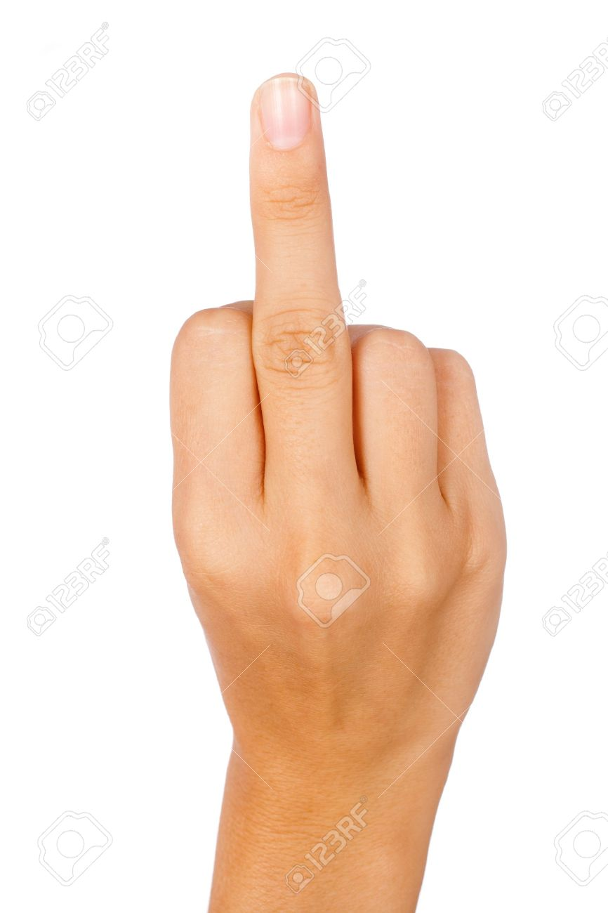 Hand showing a middle finger isolated on white. - 10101155