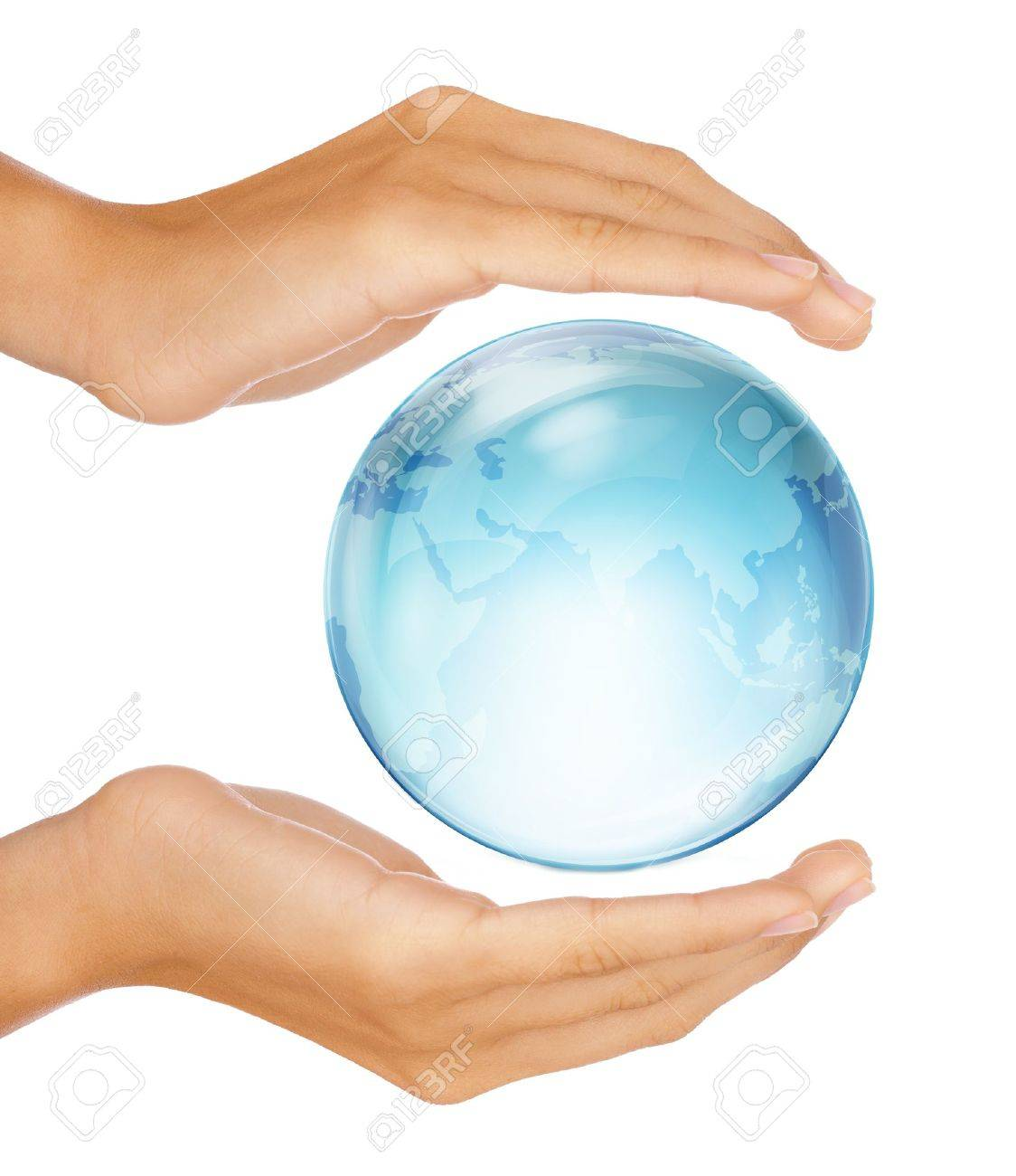 Saving the earth concept: Human hands surrounding the globe isolated on white background Stock Photo - 10101182