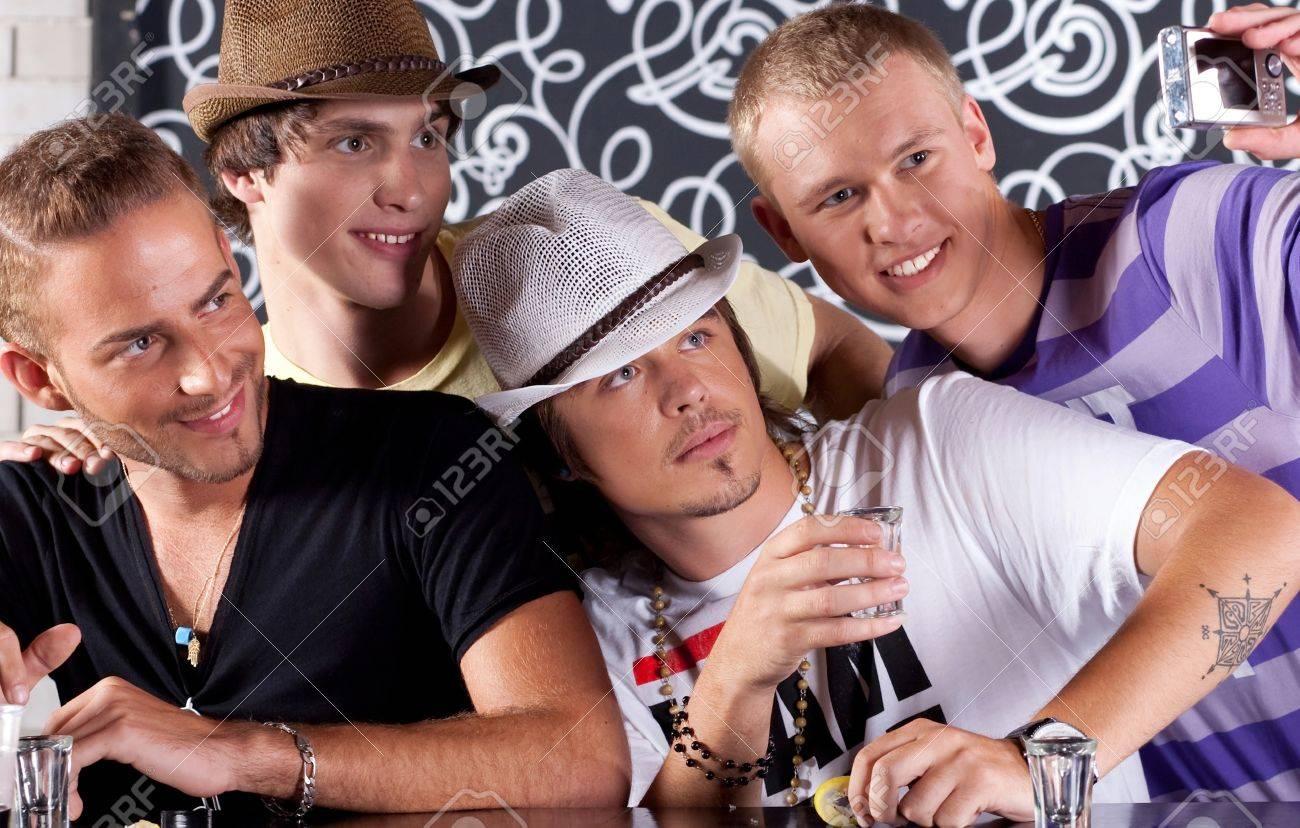 Self portrait of handsome bunch of teens drinking and enjoying in nighclub. - 10473855