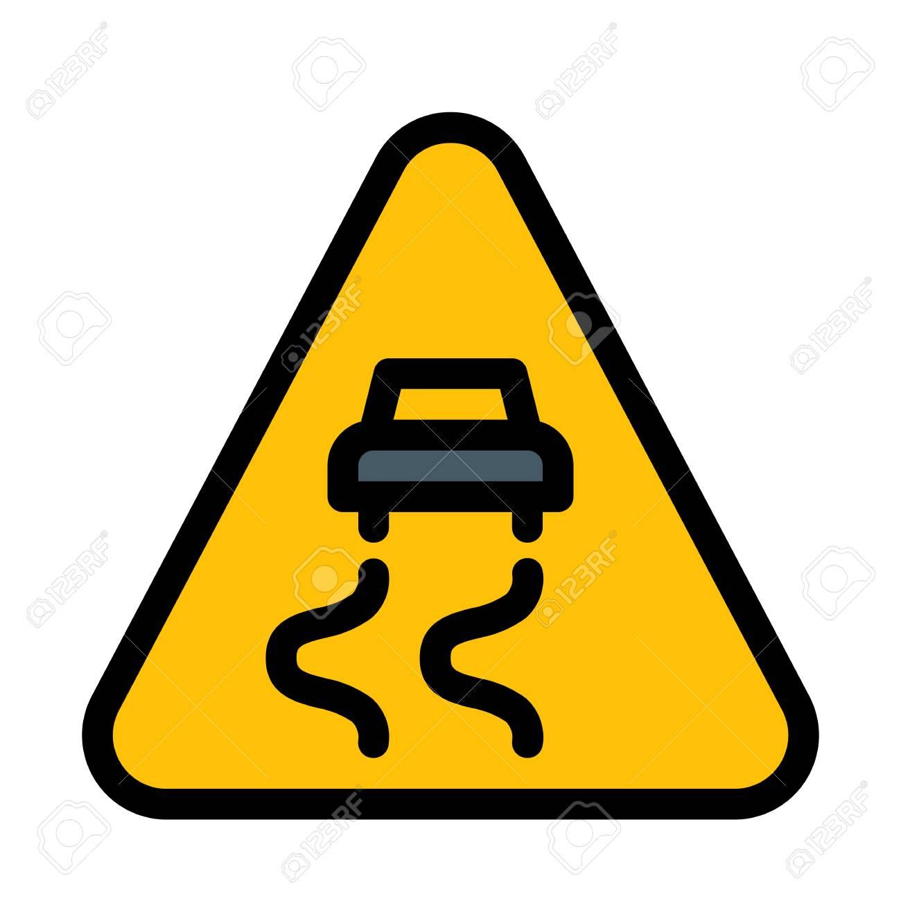 Slippery Road Warning - 125722199