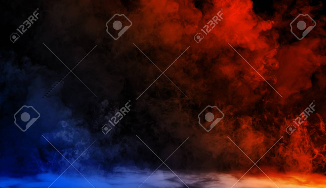 Abstract blue vs orange smoke steam moves on a black background . The concept of aromatherapy - 116608762