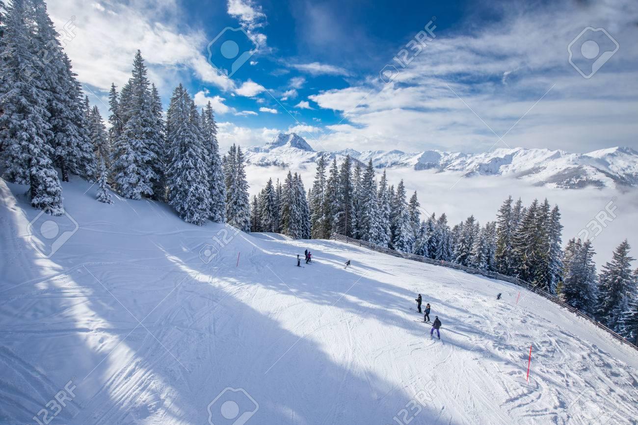 view to alpine mountains in austria from kitzbuehel ski resort