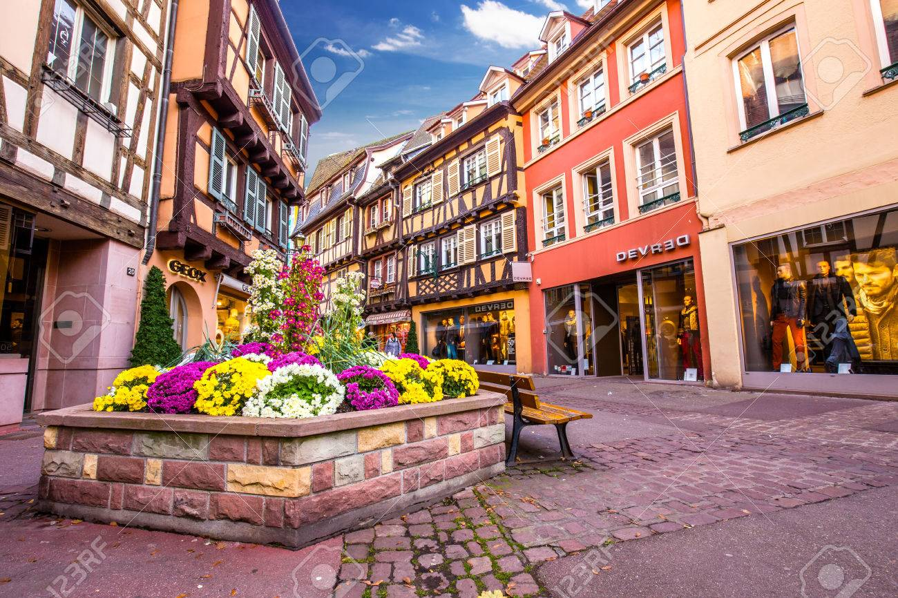 Colmar Street View To Colorful Traditional French Houses Alsace France Stock Photo