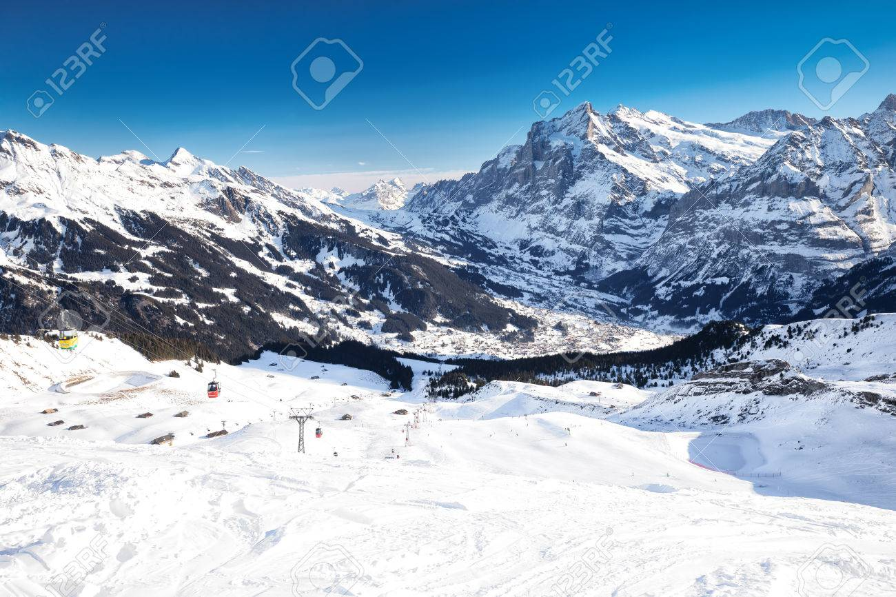 swiss ski alpine mountain resort with famous eiger, monch and