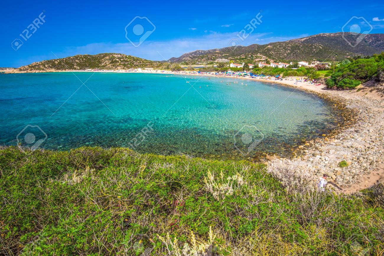 Sa Colonia Beach, Chia Resort, Sardinia, Italy. Stock Photo ...