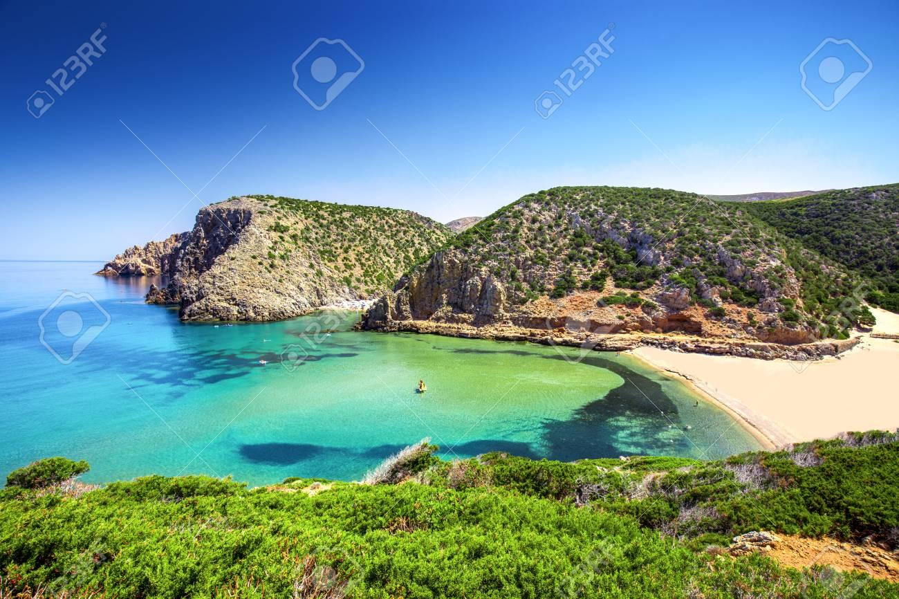 Cala Domestica Beach Costa Verde Sardinia Italy Sardinia Stock
